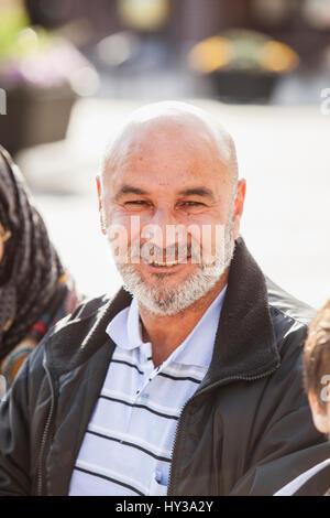 Sweden, Bleking, Solvesborg Portrait of bald man with beard - Stock Photo