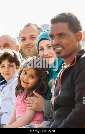 Sweden, Blekinge, Solvesborg, Portrait of family with two children (4-5, 6-7) - Stock Photo