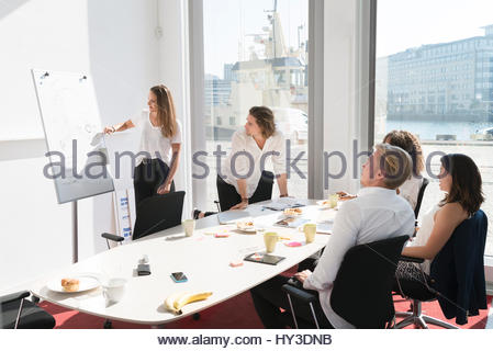 Sweden, Businesswoman giving presentation in office - Stock Photo