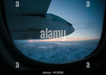 Norway, Lofoten, View through airplane window - Stock Photo