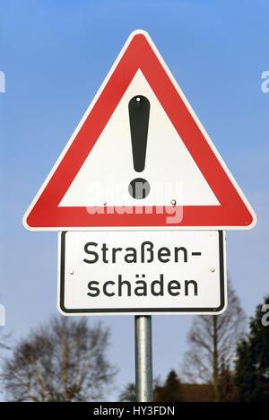 Warning street damages, Warnschild Straßenschäden
