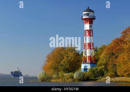 Lighthouse Wittenbergen, Hamburg, Leuchtturm Wittenbergen - Stock Photo