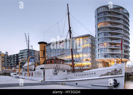 Museum ship Schaarh?rn in the traditional ship harbour in the harbour city of Hamburg, Germany, Europe, Museumsschiff - Stock Photo