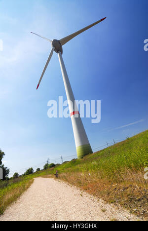 Enercon wind park with the wind turbine E-126 in Altenwerder, Hamburg, Germany, Europe, Enercon Windpark mit dem - Stock Photo