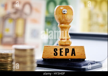 Stamp with the label SEPA, Stempel mit der Aufschrift SEPA - Stock Photo