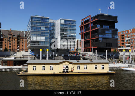 The traditional ship harbour with houseboat in the harbour city of Hamburg, Germany, Europe, Der Traditionsschiffhafen - Stock Photo