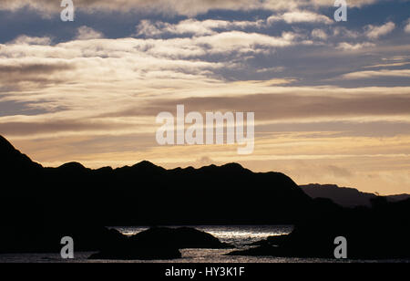 Scotland, Highlands, Loch Nan Uamh, View over Loch Nan Uamh in evening light towards Arisaig. - Stock Photo