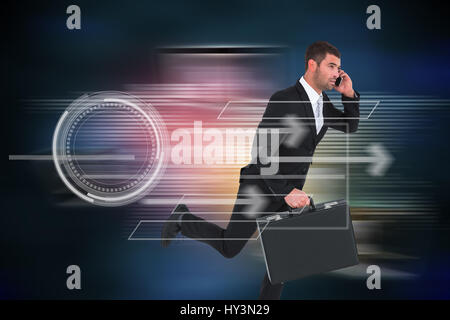 Running businessman against global connection background - Stock Photo