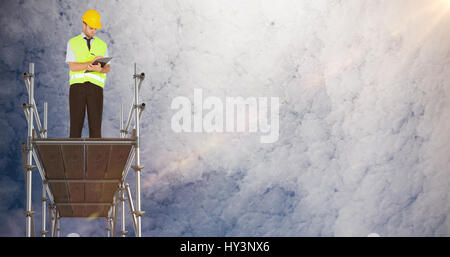 3d illustrative image of gray metal structure against low angle view of sky - Stock Photo
