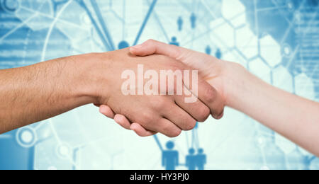 Man and woman doing handshake against people icons and binary codes - Stock Photo
