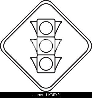 semaphore traffic lights warning sign vector icon illustration - Stock Photo