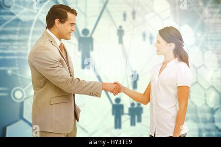 Happy business partners shaking hands against people icons and binary codes - Stock Photo