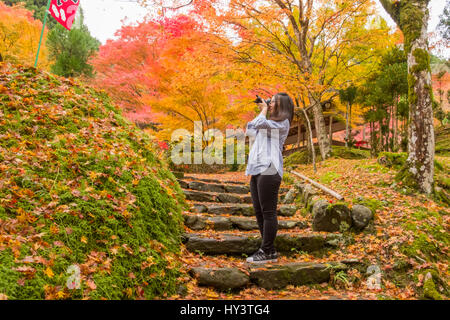 Woman tourist stands on stone steps and takes photo in forest with autumn colour trees in Jingoji Temple in Kyoto, - Stock Photo