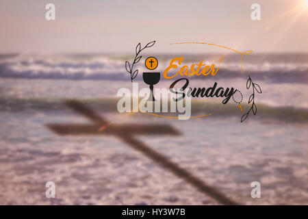 Easter message against water waves - Stock Photo