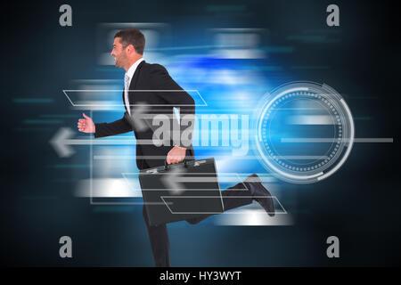 Running businessman against futuristic technology interface - Stock Photo