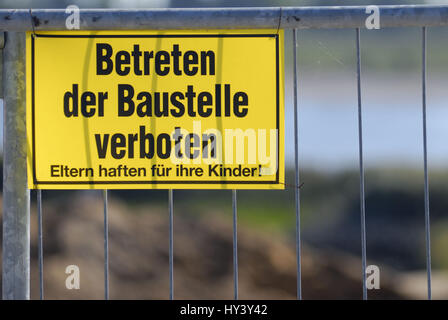Entrance of the building site forbade, Betreten der Baustelle verboten - Stock Photo