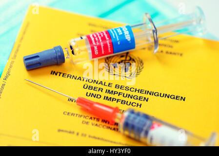 Vaccination identity card and vaccination sputter, Impfausweis und Impfspritzen - Stock Photo