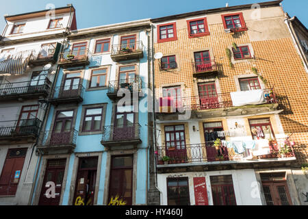 PORTO, PORTUGAL - MAY 30, 2016: Row of 3 buildings in Porto, Portugal. - Stock Photo