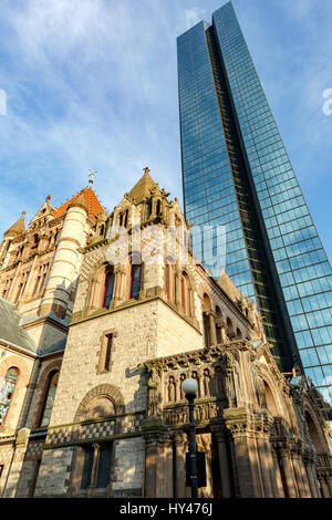 200 Clarenton, formerly known as Hancock Tower and Trinity Church, Copley Square, Boston, Massachusetts USA - Stock Photo