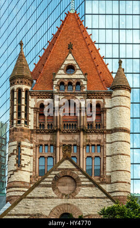 Trinity Church (200 Clarenton, formerly known as Hancock Tower in background), Copley Square, Boston, Massachusetts - Stock Photo