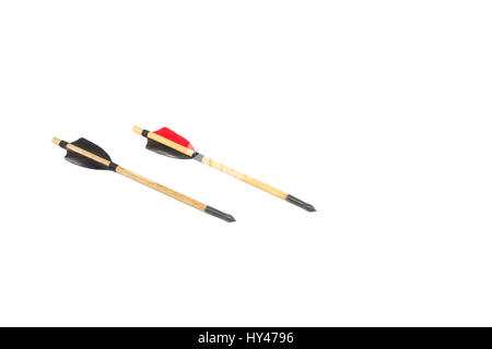 Medieval crossbow arrows handmade handcraft with black and red feathers isolated in white background - Stock Photo