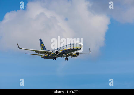 Ryanair Boeing 737 8AS registration EI-DHA landing on March 31st 2017 at London Luton Airport, Bedfordshire, UK - Stock Photo