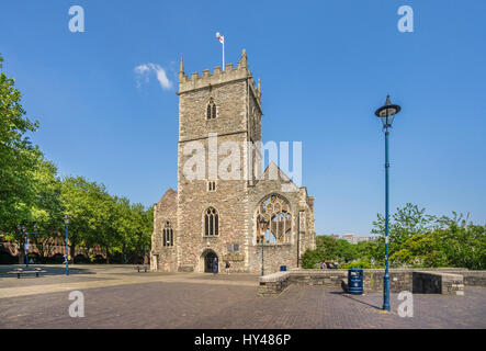 United Kingdom, South West England, Bristol, view of the ruins of St. Peter's Church in Castle Park. The church - Stock Photo