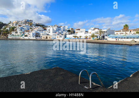 View of ocean bay and Las Playitas fishing village, Fuerteventura, Canary Islands, Spain - Stock Photo