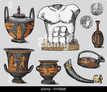 ancient Greece, antique symbols, greek coins, heracles sculpture, anphora vintage, engraved hand drawn in sketch - Stock Photo