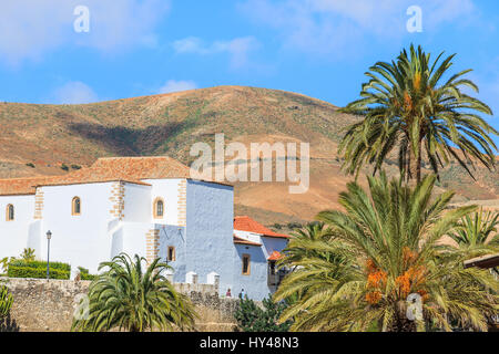 View of Betancuria village in countryside landscape of Fuerteventura, Canary Islands, Spain - Stock Photo
