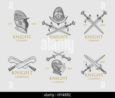 Set of monochrome knights emblems, badges, labels and logos medieval helmet, swords, mace, daggers shield antique - Stock Photo
