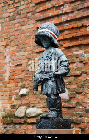 The monument of the Little Insurgent (Pomnik Malego Powstanca) in Warsaw Old Town, Warsaw, Poland. 21 March 2017. - Stock Photo