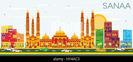 Sanaa (Yemen) Skyline with Color Buildings and Blue Sky. Vector Illustration. Business Travel and Tourism Concept - Stock Photo