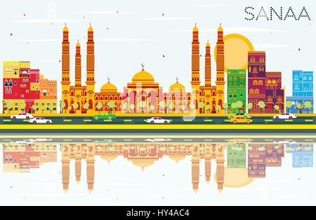 Sanaa (Yemen) Skyline with Color Buildings, Blue Sky and Reflections. Vector Illustration. Business Travel and Tourism - Stock Photo