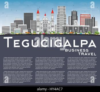 Tegucigalpa Skyline with Gray Buildings, Blue Sky and Copy Space. Vector Illustration. Business Travel and Tourism - Stock Photo