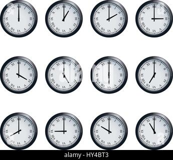 Clock set with Roman numerals, timed at each hour - Stock Photo