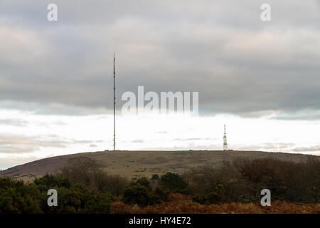 Caradon Hill from Minions seen from Minions with TV Transmission mast. - Stock Photo