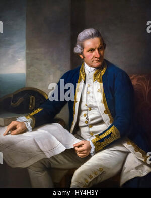 Captain Cook. Portrait of Captain James Cook (1728-1779) by Nathaniel Dance, oil on canvas, 1776. - Stock Photo