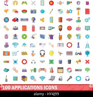 100 applications icons set, cartoon style - Stock Photo