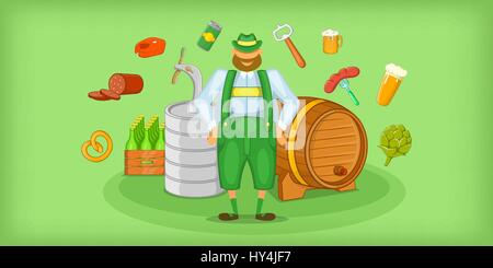Brewer horizontal banner symbols , cartoon style - Stock Photo