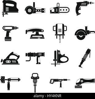 Electric tools icons set, simple style - Stock Photo