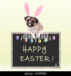 cute pug puppy dog with bunny ears diadem hanging with paws on chalkboard sign with text happy easter and decoration, - Stock Photo