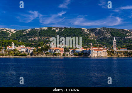 Croatia, Kvarner Gulf, Rab Island, Rab Town, Old Town in front of Kamenjak, view from Frkanj, anacreontic island - Stock Photo