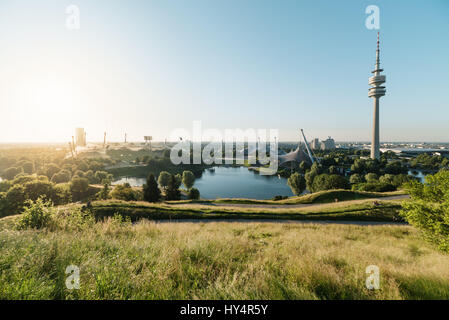 Summer evening in the Olympic Park, Munich, Bavaria, Germany - Stock Photo