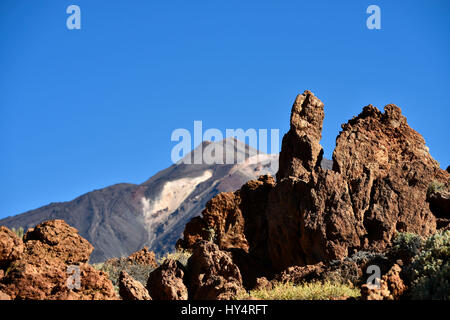 Pico del Teide, in front of it Montaña Amarilla, Teide National Park, Tenerife, Canary Islands, Spain - Stock Photo