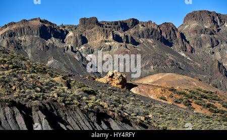 various rock strata, Canada Blanca, Teide National Park, Tenerife, Canary Islands, Spain - Stock Photo