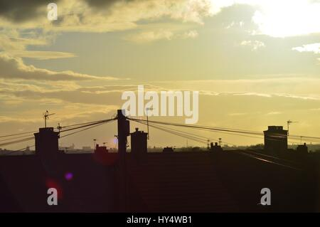 Liverpool City Centre from Huyton at Sunset - Stock Photo