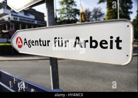 Sign Agency for work, Schild Agentur fuer Arbeit - Stock Photo