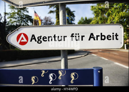 Sign Agency for work, Schild Agentur fuer Arbeit - Stock Photo