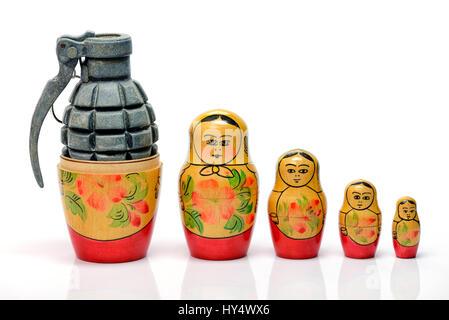 Russian Matroschka with grenade, the Russian military, Russische Matroschka mit Handgranate, russisches Militaer - Stock Photo